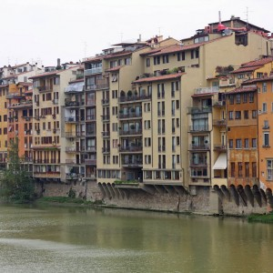 The Med cruise 2010 - Buildings around the river Arno (North bank)
