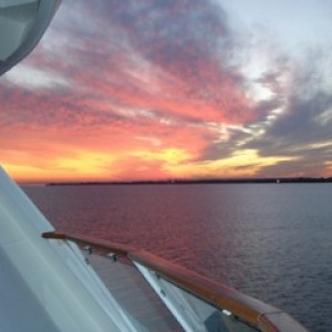 Sunset from aft cabin, Radiance