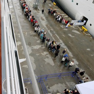 Queing for boarding Vision of the Seas in Tallinn