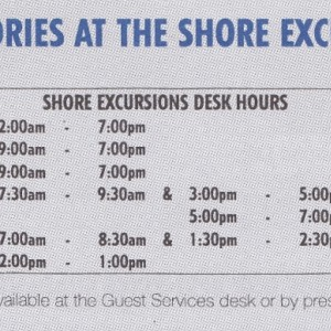 Shore Excursion Desk hours