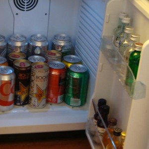 Our fully stocked mini fridge