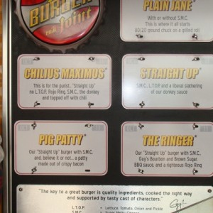 Guy's Burger Joint - menu