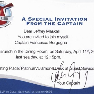 Diamond invitation from the Captain