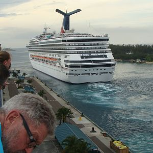 Carnival Victory sails away