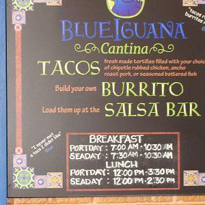 Blue Iguana Cantina Menu