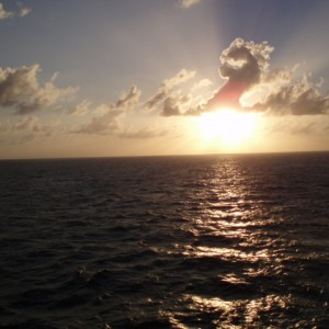 Sunset just off the coast of Miami, Florida.