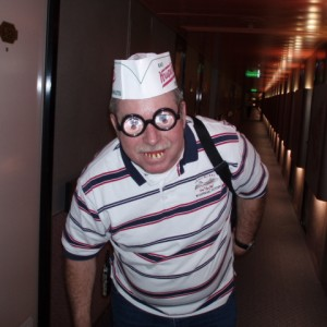 "Me dressed as a ""Krispy Kreme Doughnut"" delivery boy."