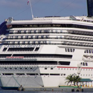 A stern shot of the Carnival Liberty.