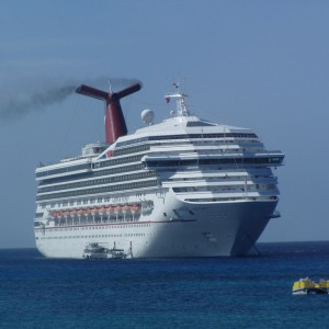 The Carnival Victory at anchor in Grand Cayman Island.