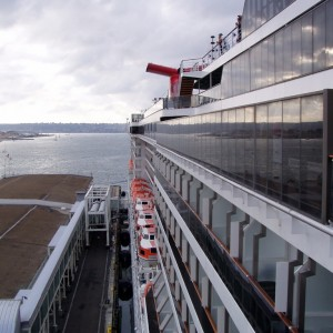 A view of all the balconies aboard the Carnival Spirit