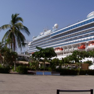 The Star Princess docked in Puerta Vallarta Mexico
