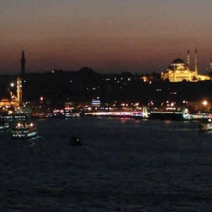 Istanbul skyline after sunset
