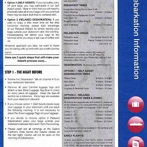 Debarkation information