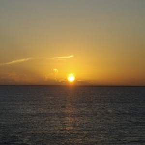 Sunset off the coast of Costa Maya, Mexico,