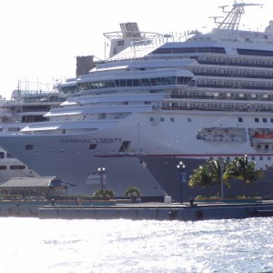 The Carnival Liberty docked in Nassau Bahamas